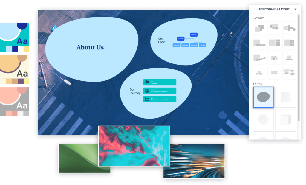Customize your Prezi presentation with a background, layout, shapes, and custom colors.