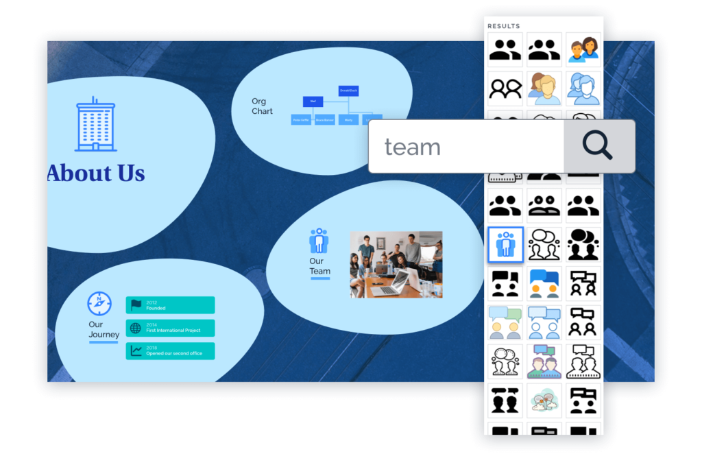 Prezi has a vast library of icons to choose from.