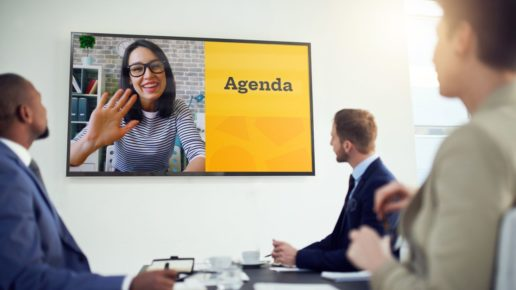 women leads video conference using Prezi Video