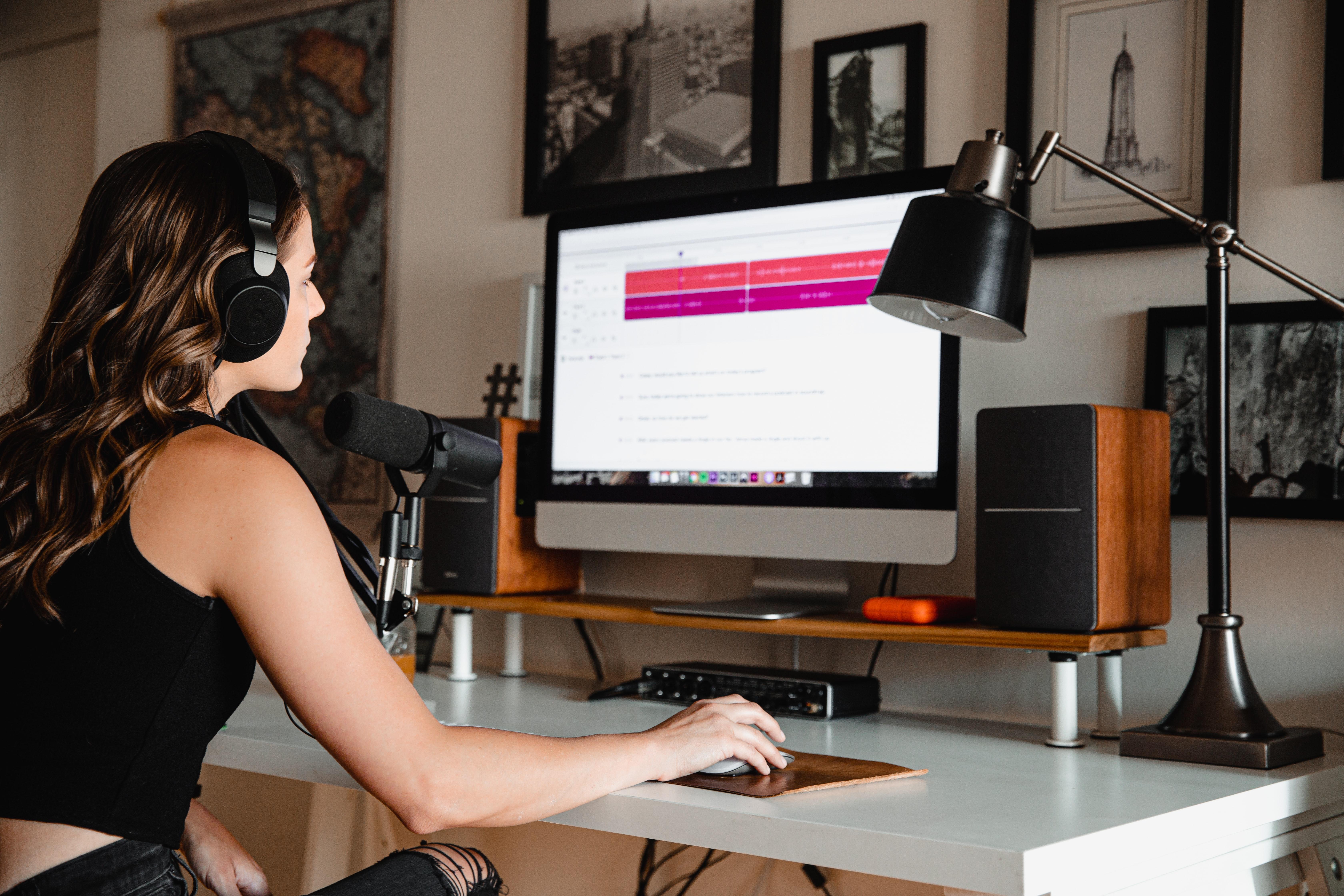 woman's home studio setup