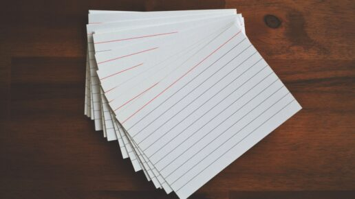 notecards on wood surface