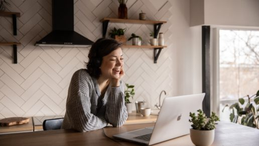 woman in virtual meeting
