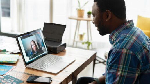 man video conferencing from home